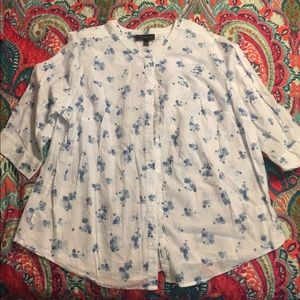 Cotton white with navy top